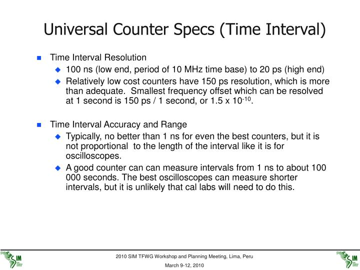 Universal Counter Specs (Time Interval)