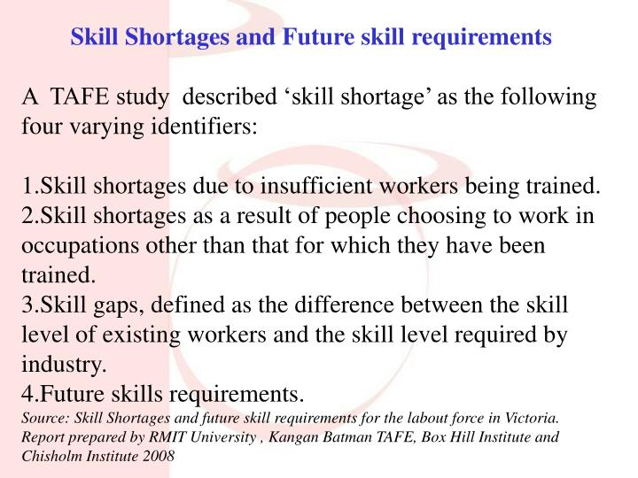 Skill Shortages and Future skill requirements