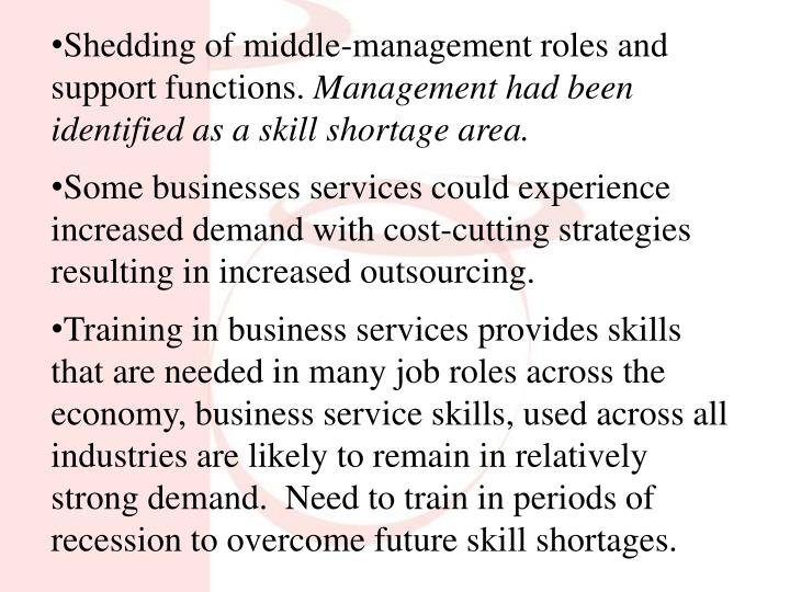 Shedding of middle-management roles and support functions.
