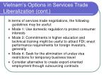 vietnam s options in services trade liberalization cont
