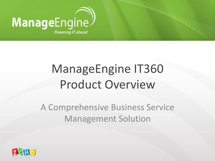 manageengine it360 product overview