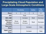 precipitating cloud population and large scale atmospheric conditions