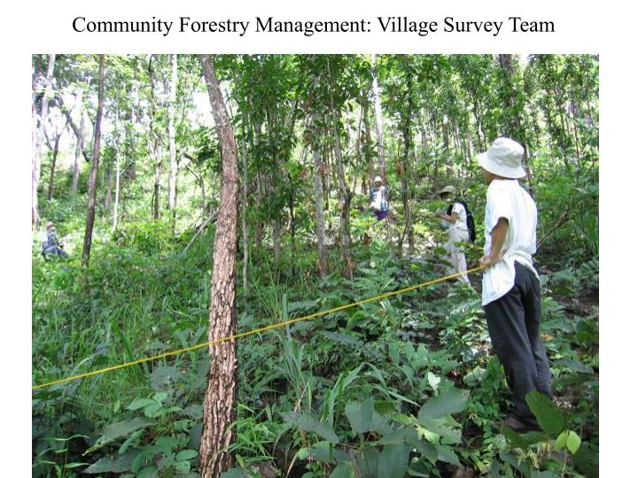 Community Forestry Management: Village Survey Team
