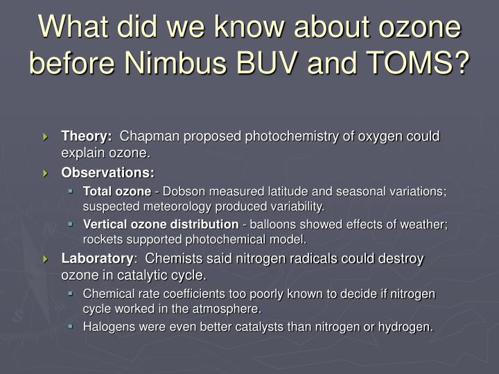 What did we know about ozone before nimbus buv and toms