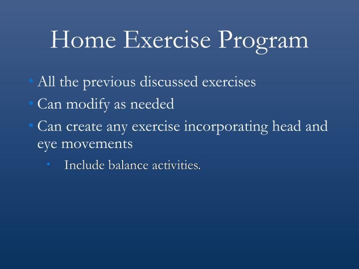 Home Exercise Program
