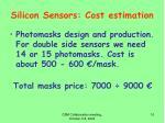 silicon sensors cost estimation1