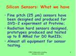 silicon sensors what we have1