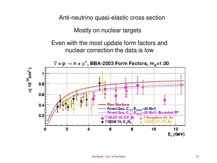 Anti-neutrino quasi-elastic cross section