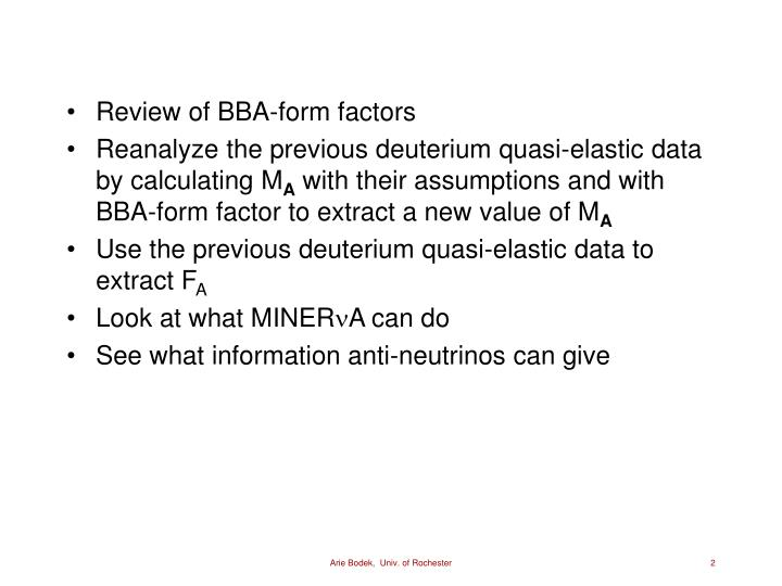 Review of BBA-form factors