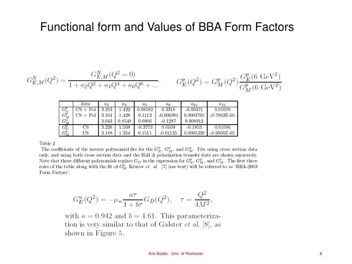Functional form and Values of BBA Form Factors