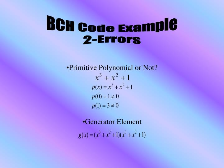 BCH Code Example