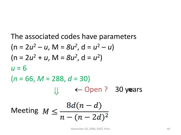 The associated codes have parameters