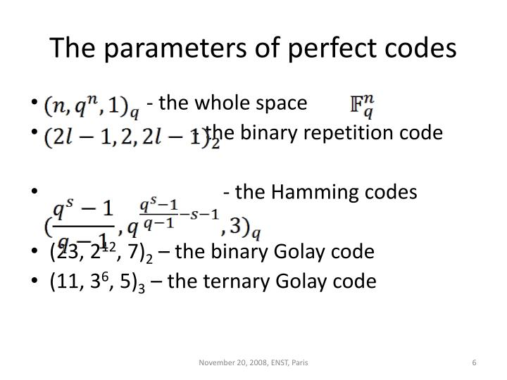 The parameters of perfect codes