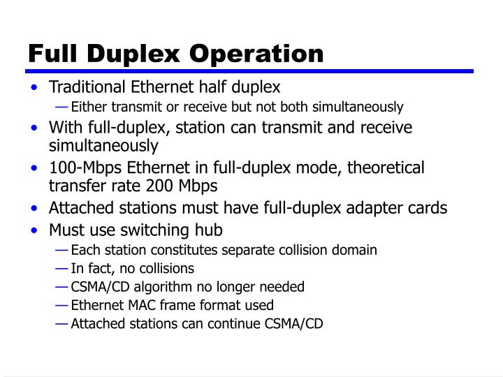 Full Duplex Operation