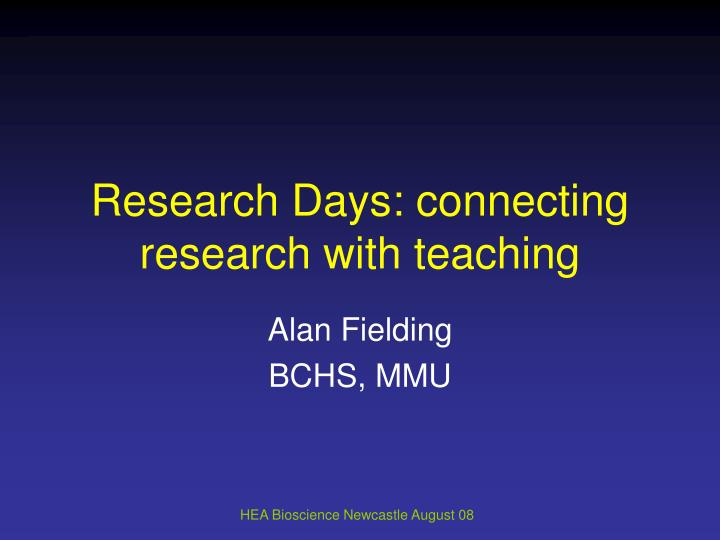 research days connecting research with teaching n.