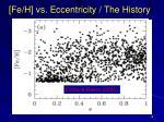 fe h vs eccentricity the history
