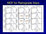 mdf for retrograde stars