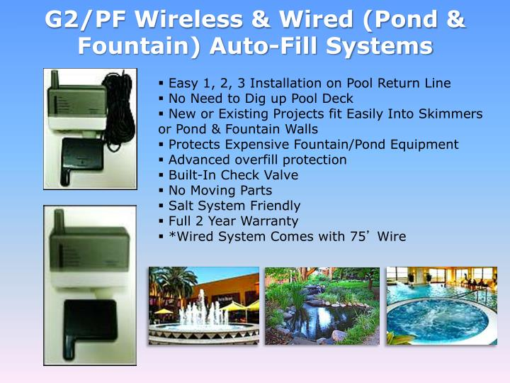 G2/PF Wireless & Wired (Pond & Fountain) Auto-Fill Systems