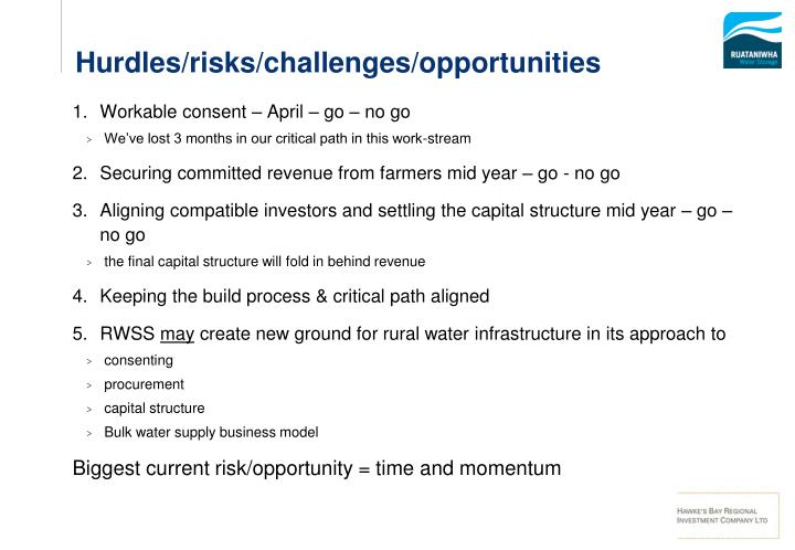 Hurdles/risks/challenges/opportunities