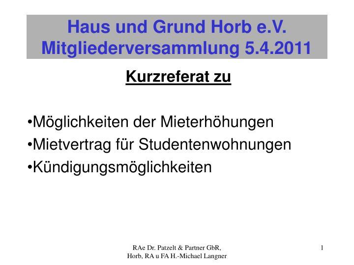 PPT - Haus und Grund Horb e.V. Mitgliederversammlung 5.4.2011 ...