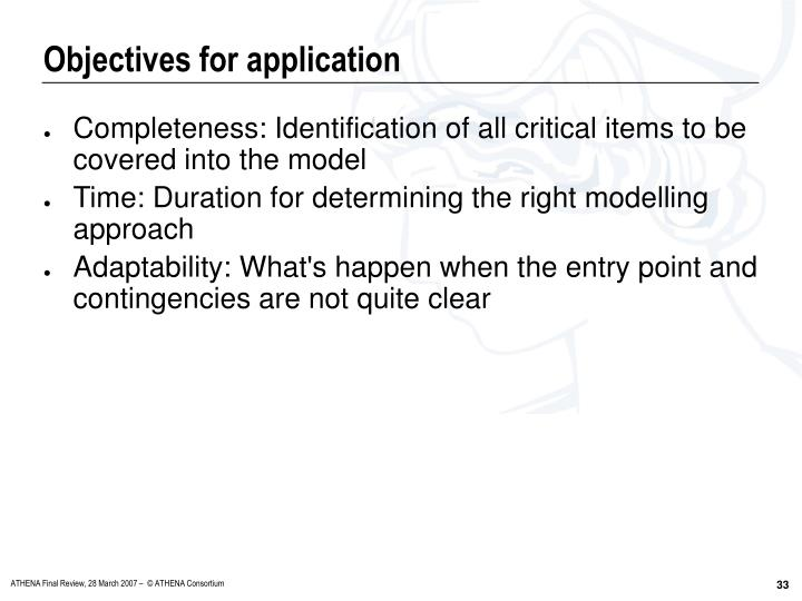 Objectives for application