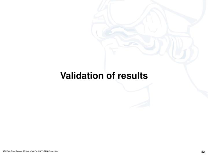 Validation of results