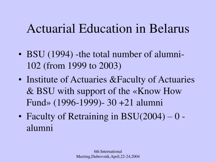actuarial education in belarus n.