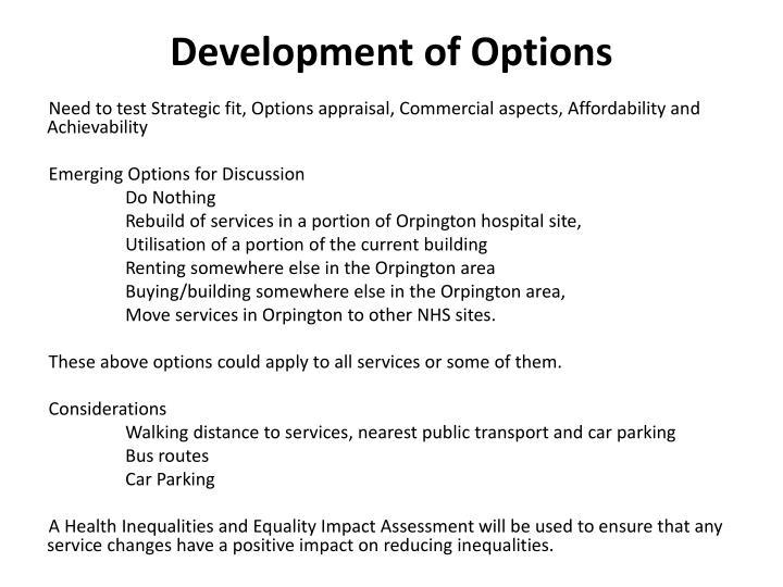 Development of Options