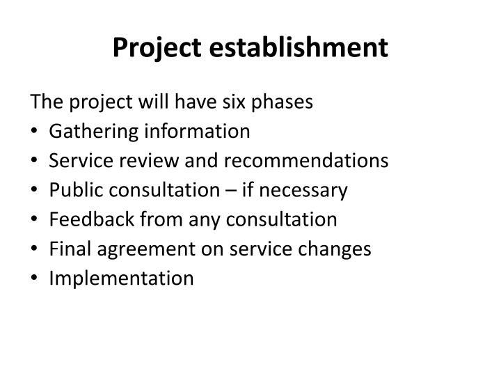 Project establishment