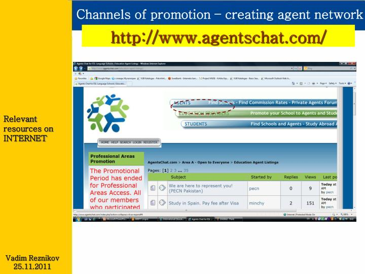 Channels of promotion – creating agent network