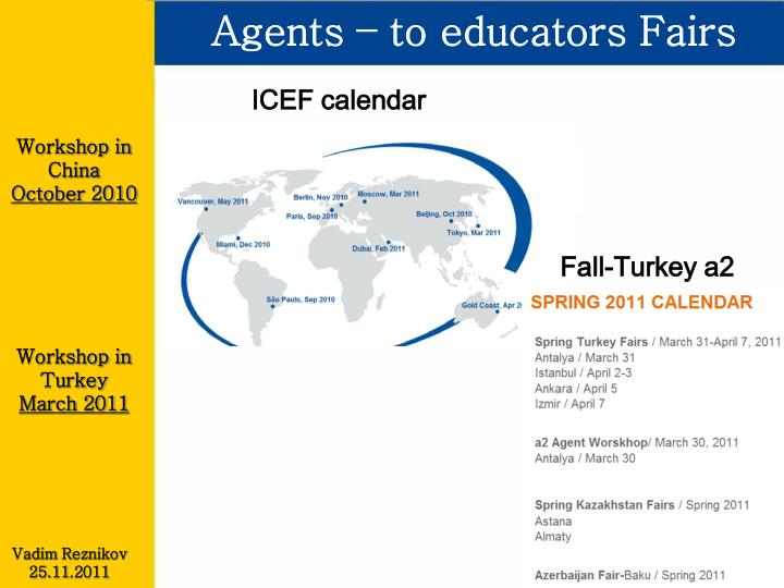 Agents – to educators Fairs