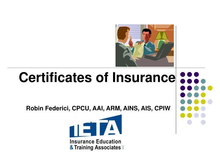 certificates of insurance n.