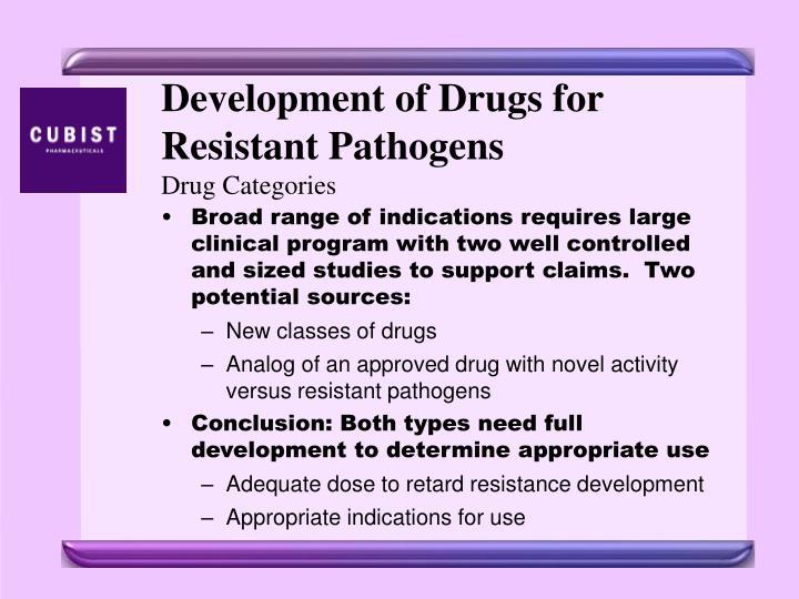 Development of Drugs for Resistant Pathogens