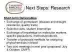 next steps research