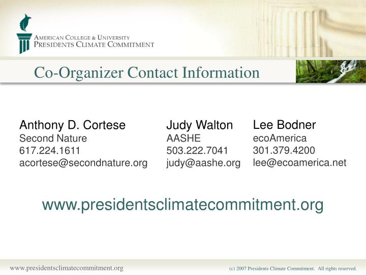 Co-Organizer Contact Information