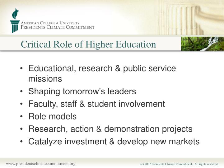 Critical Role of Higher Education