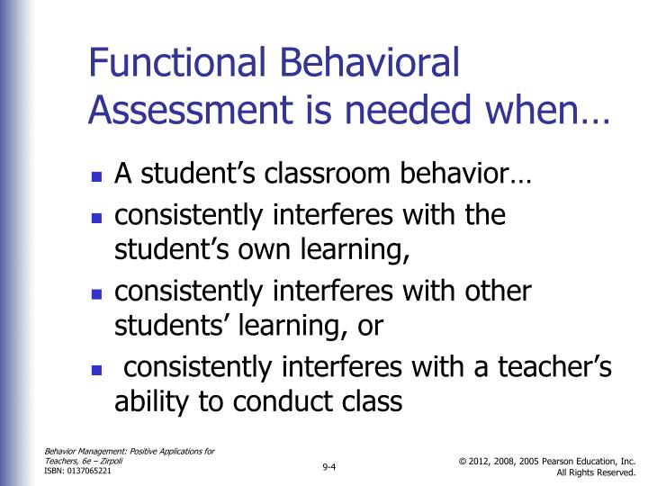 Functional Behavioral Assessment is needed when…