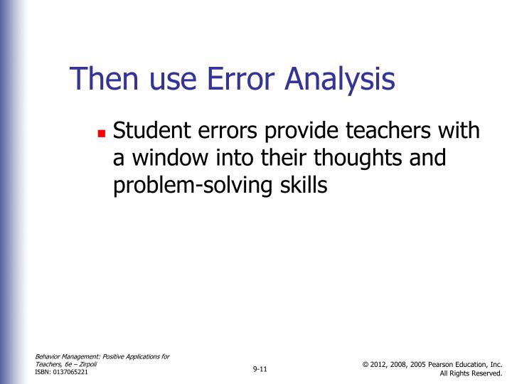 Then use Error Analysis