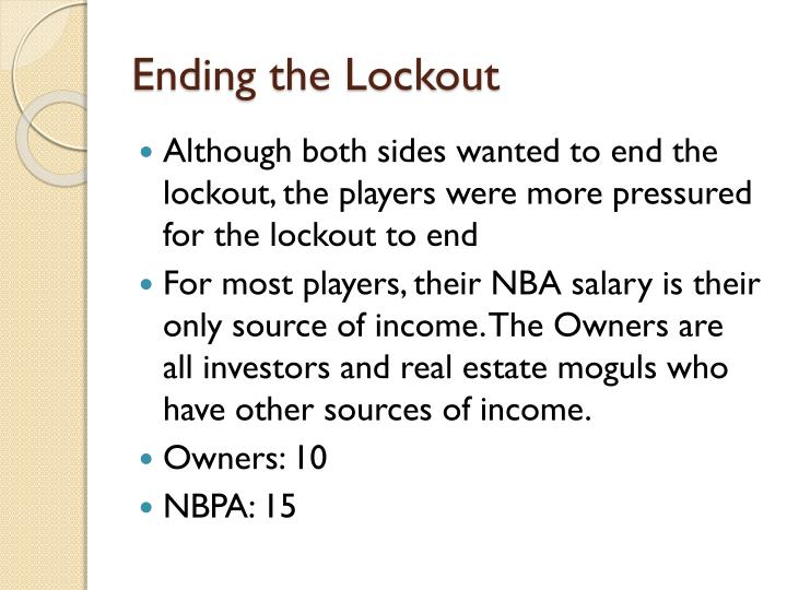 Ending the Lockout