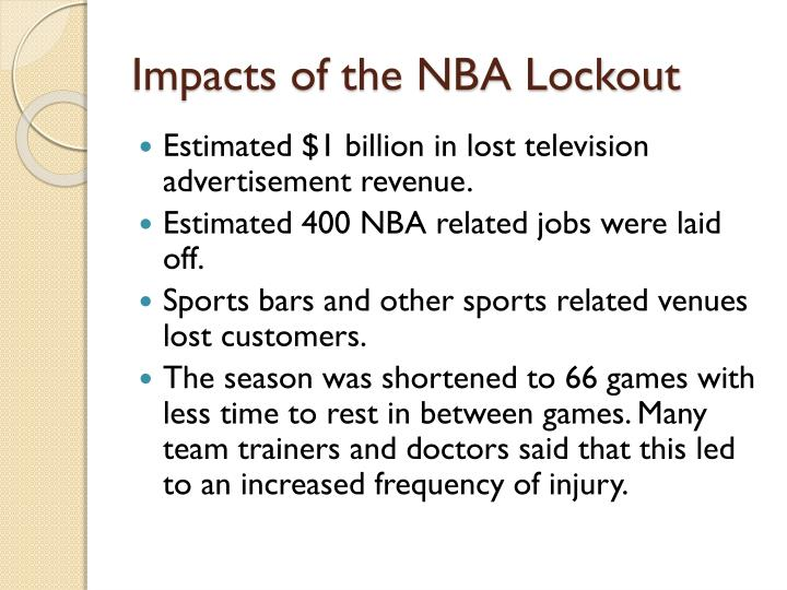 Impacts of the NBA Lockout