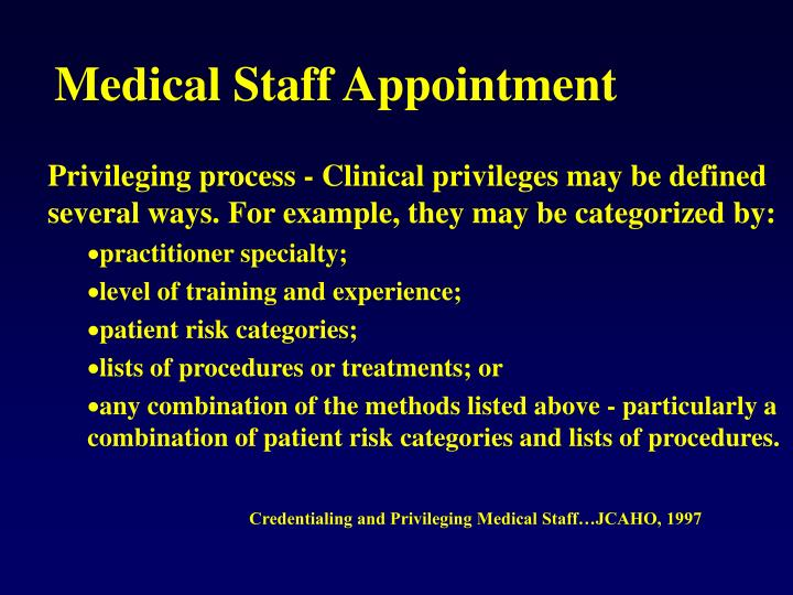 Medical Staff Appointment