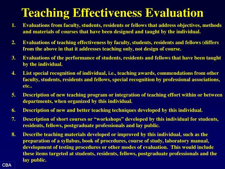 Teaching Effectiveness Evaluation