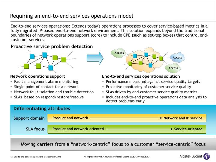 Requiring an end-to-end services operations model