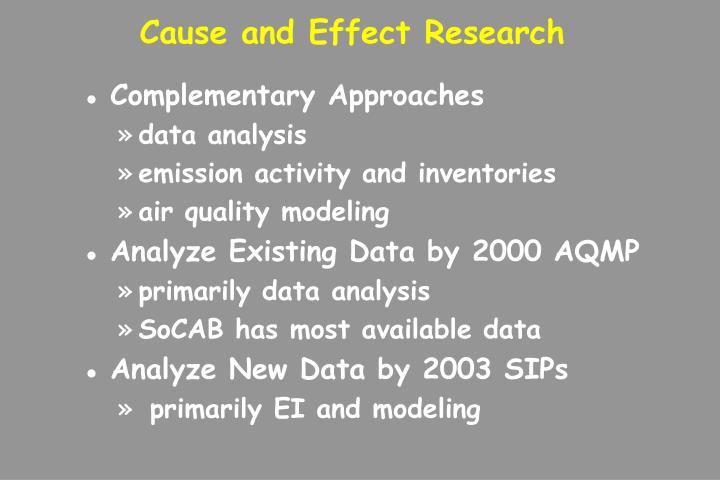 Cause and Effect Research
