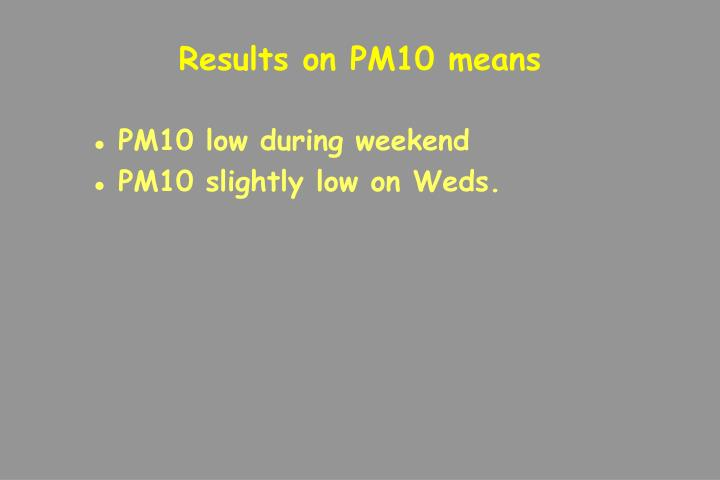 Results on PM10 means
