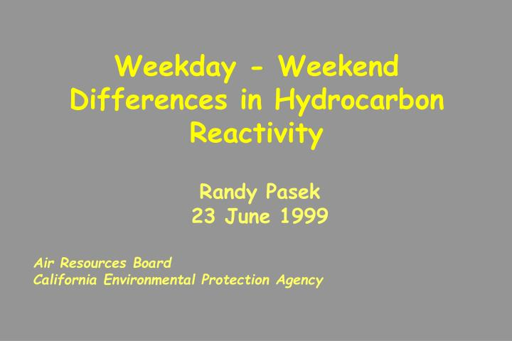 Weekday - Weekend Differences in Hydrocarbon Reactivity
