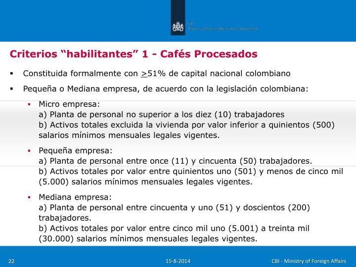 """Criterios """"habilitantes"""" 1 - Cafés Procesados"""