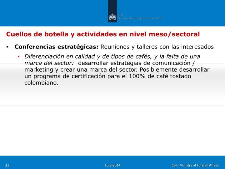 Cuellos de botella y actividades en nivel meso/sectoral