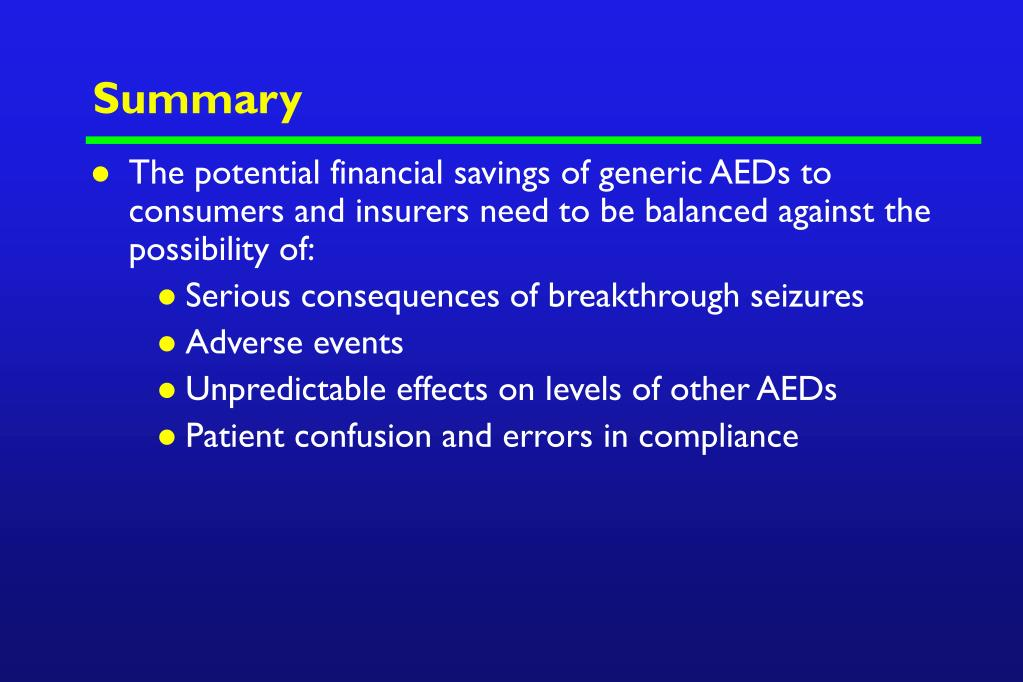 PPT - Generic and Brand Name AEDs: Considerations for