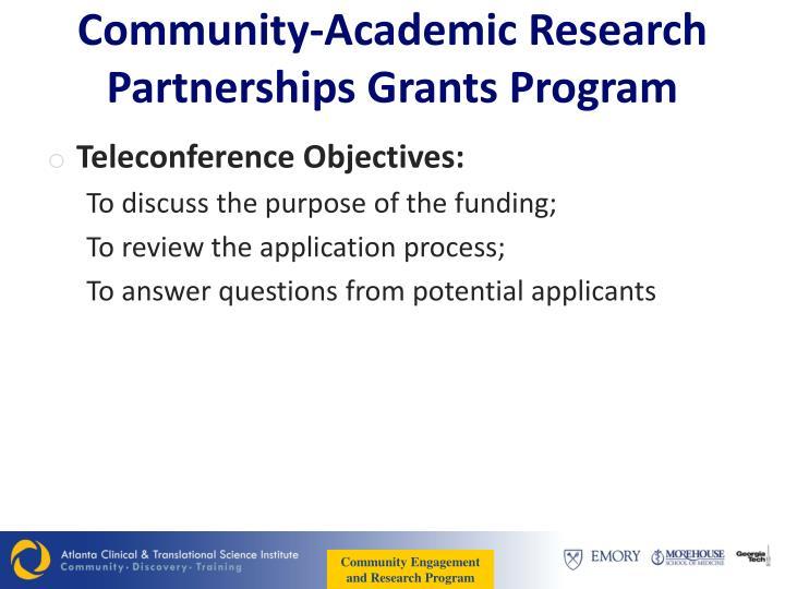 Community academic research partnerships grants program1